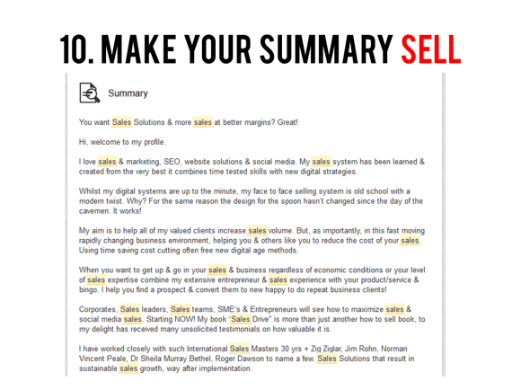 Make your LinkedIn Summary sell
