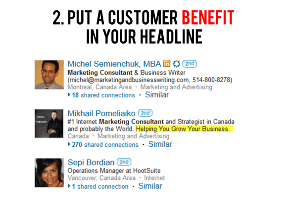 Put a customer benefit in your headline