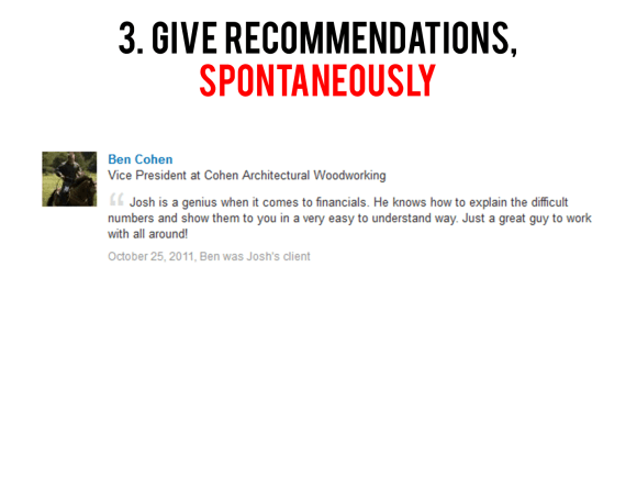 Give Recommendations Spontaneously