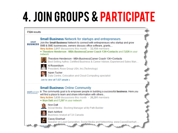 Join LinkedIn Groups and Participate
