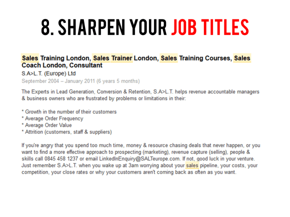 Sharpen your job titles